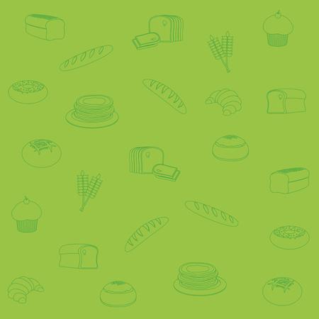 Bakery pattern background cartoons vector illustration graphic design Ilustrace