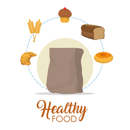 Bakery and healthy food concept vector illustration graphic design 向量圖像
