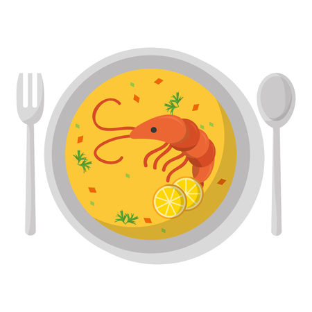 lobster and vegetables soup food in the plate vector illustration Illustration