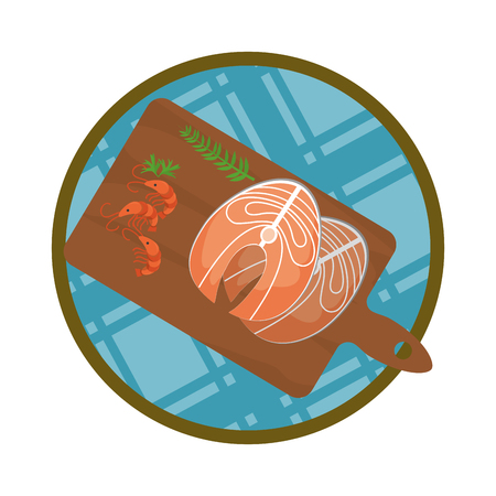 filler fish with lobsters and herbs inside cutting board vector illustration