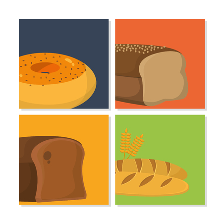 Set of bakery products collection vector illustration graphic design Vectores