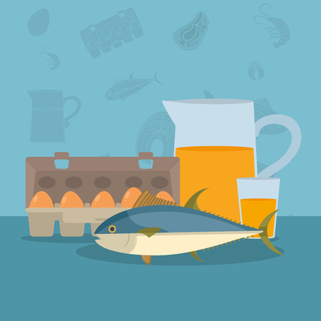 Healthy and delicious seafood cartoons vector illustration graphic design