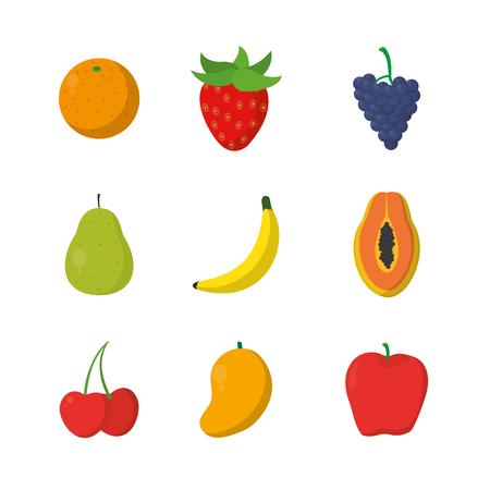 Set of sweets fruits cartoons vector illustration graphic design Illustration