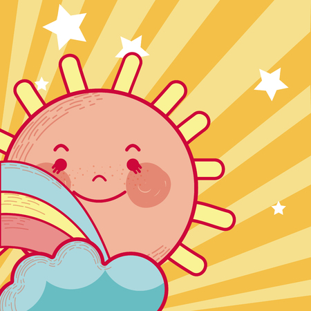 Cute sun cartoon Illustration