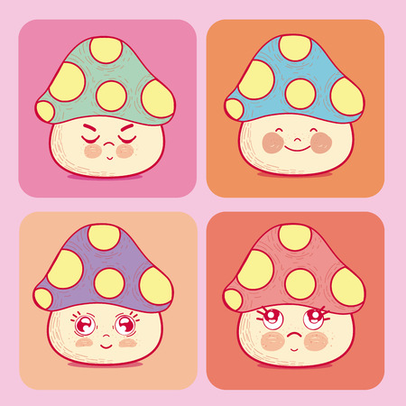 Set of cute mushrooms cartoons Vectores