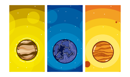 Set of milkyway planets Stock Illustratie
