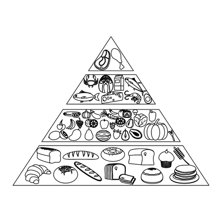 line nutritional food pyramid diet products Stock Vector - 101618912