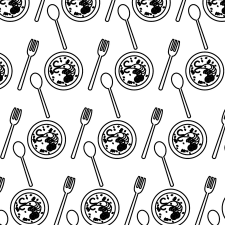 line lobster soup and cutlery utensils background