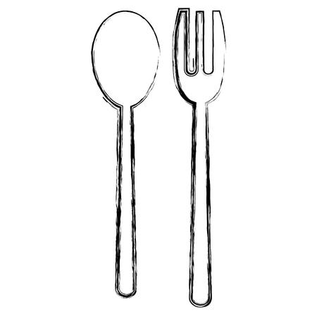 grunge spoon and fork cutlery kitchen utensil vector illustration