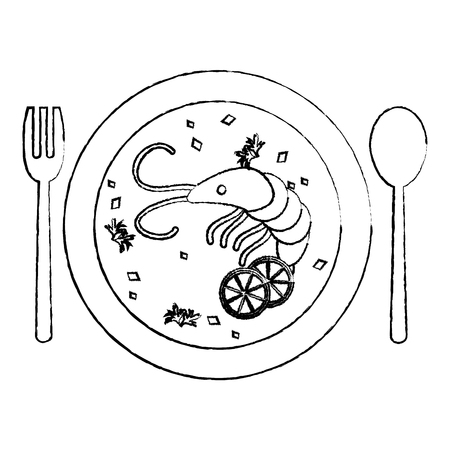 grunge lobster and vegetables soup food in the plate vector illustration