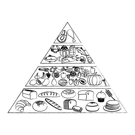 grunge nutritional food pyramid diet products vector illustration Vectores