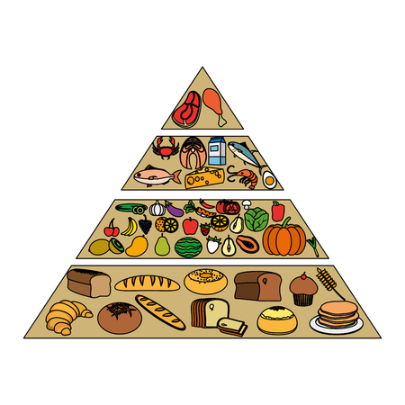 color nutritional food pyramid diet products vector illustration Vectores