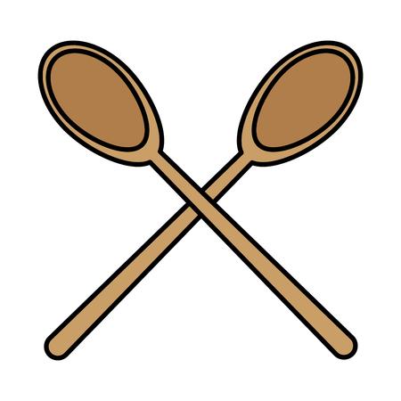 color wood big spoons kitchen utensils vector illustration