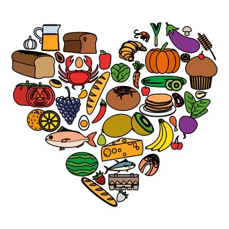 Farbnahrungsmittelpyramide mit Diät-Ernährungsproduktvektorillustration
