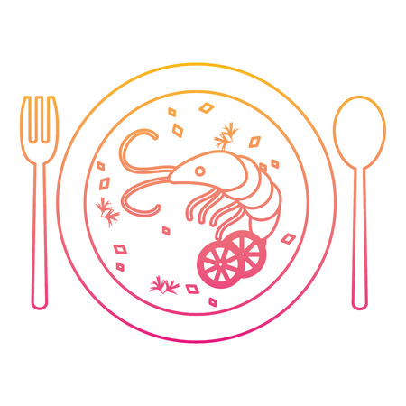 degraded line lobster and vegetables soup food in the plate vector illustration Illustration