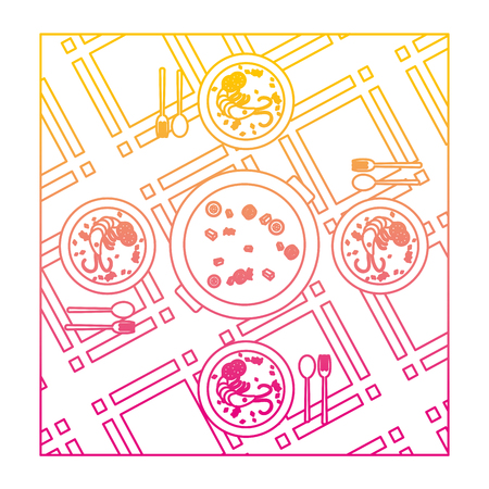 degraded line delicious lobster and vegetables soup in the plates vector illustration