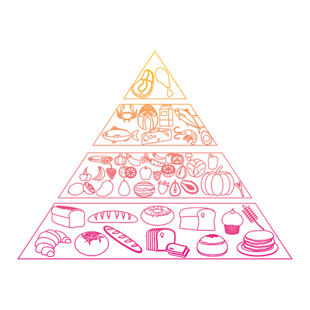 degraded line nutritional food pyramid diet products vector illustration