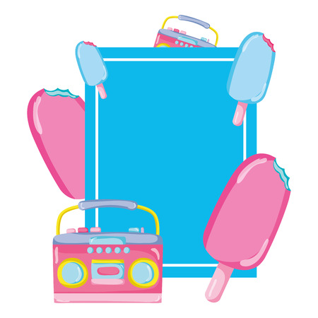emblem with ice lolly and radio object