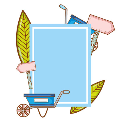 emblem with watering can and handcart decoration vector illustration