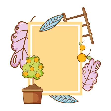 emblem decoration with exotic plant nature vector illustration Illustration