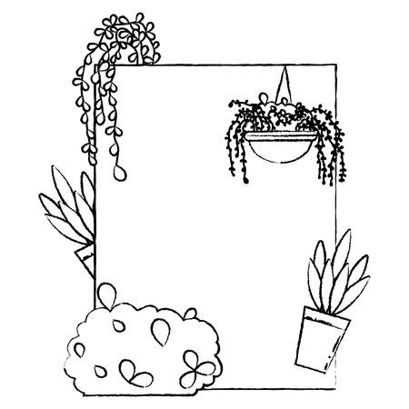 grunge emblem design with exotic plants narure vector illustration