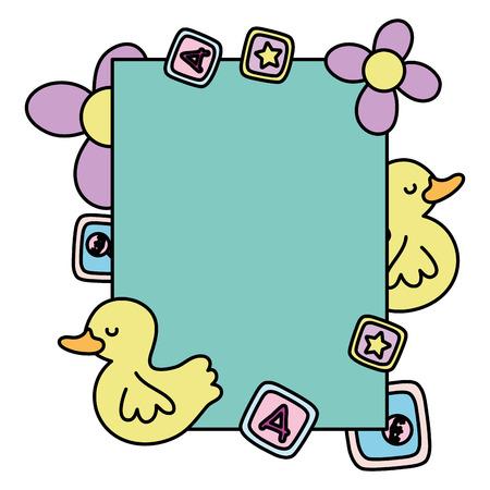 color card emblem invitation to baby shower decoration vector illustration Vectores