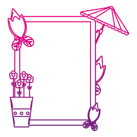 degraded line emblem with exotic flower nature plant vector illustration