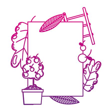 degraded line emblem decoration with exotic plant nature vector illustration