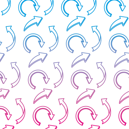 degraded line pictogram arrows icon direction background vector illustration
