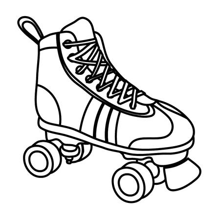 line roller skate style fun sport vector illustration