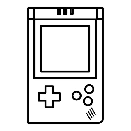 line handheld videogame console simulador vector illustration
