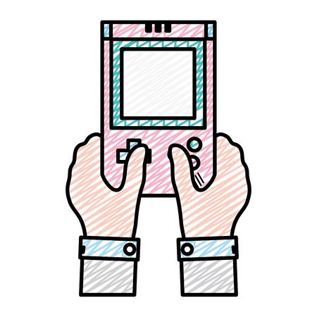 doodle man hands with handhelp videogame vector illustration