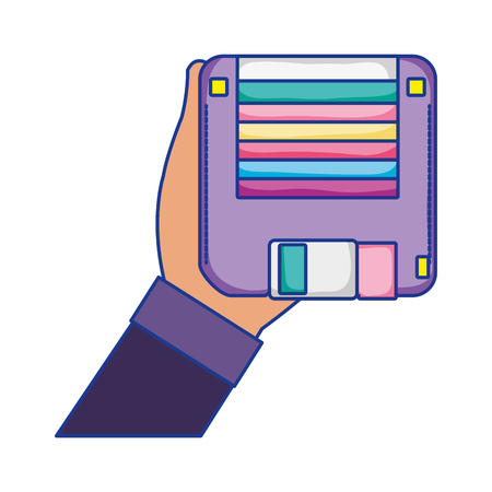 man hand with retro diskette object vector illustation