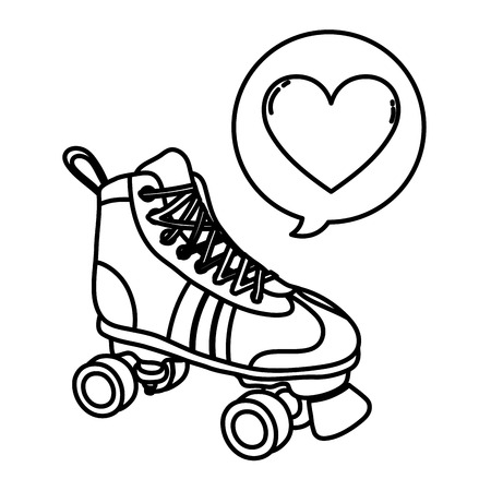 line roller skate style with heart inside chat bubble