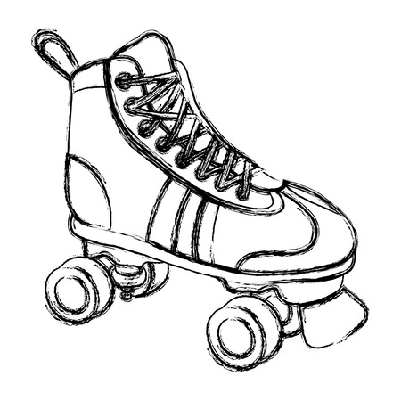 grunge roller skate style fun sport vector illustration