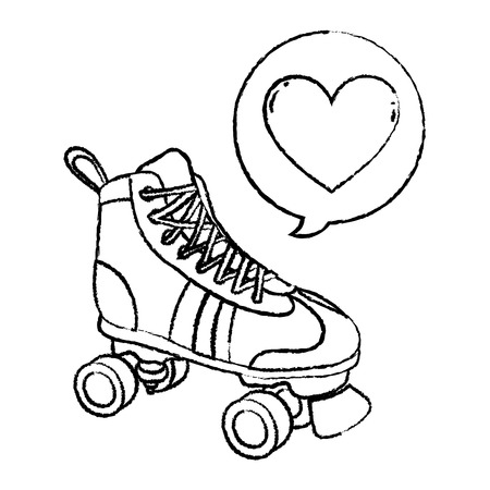 grunge roller skate style with heart inside chat bubble vector illustration Stock Illustratie