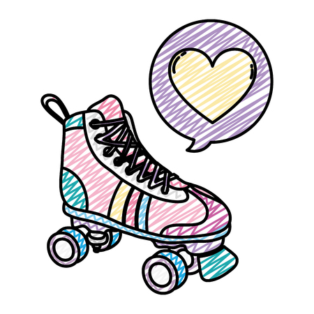 doodle roller skate style with heart inside chat bubble Stock Illustratie