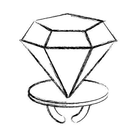 grunge diamond engagenment ring wedding romance vector illustration