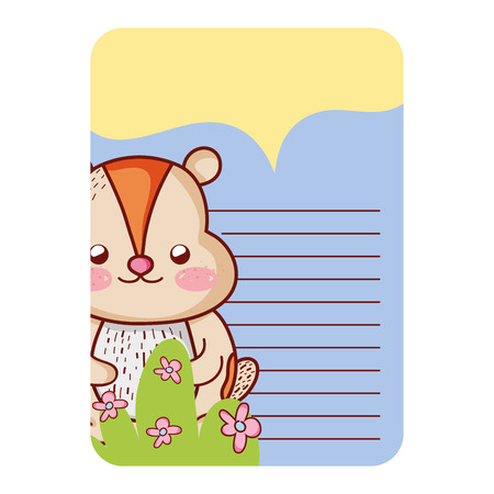 card with chipmunk cute animal decoration vector illustration
