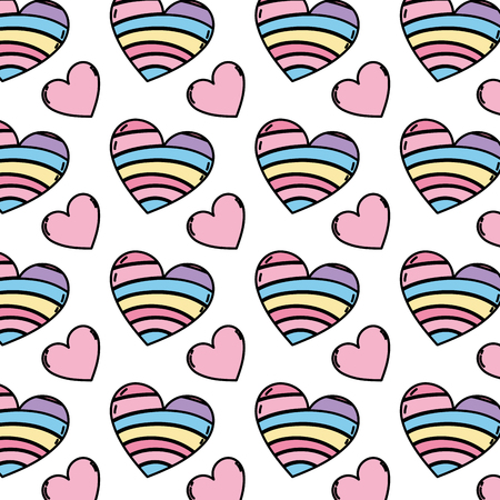color decoration heart shape trendy background vector illustration