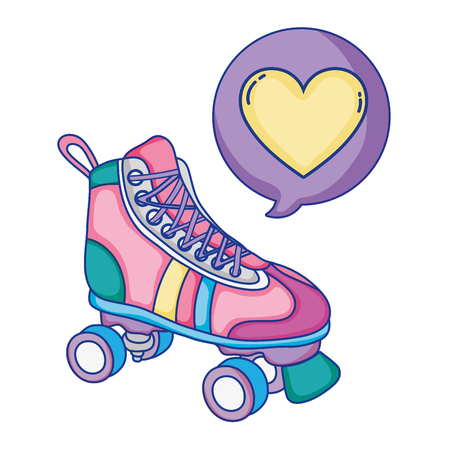 roller skate style with heart inside chat bubble