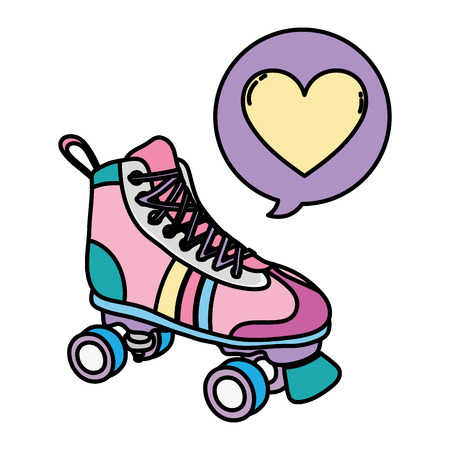 color roller skate style with heart inside chat bubble vector illustration