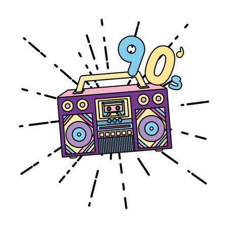 color retro radio music 90 trendy music vector illustration