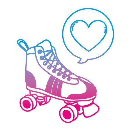 degraded line roller skate style with heart inside chat bubble vector illustration