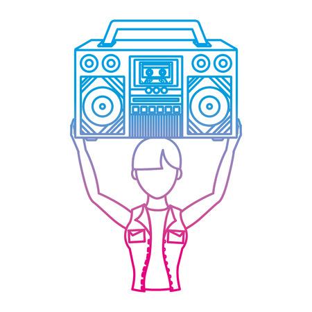 degraded line woman hosting retro radio trendy vector illustration