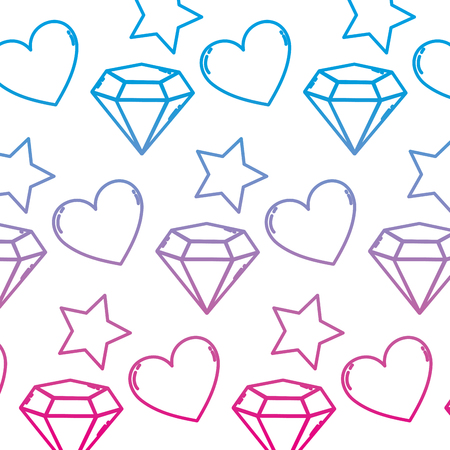 degraded line brillant star with diamond and heart background vector illustration Vectores