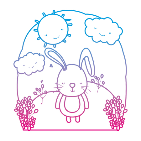 degraded line cute rabbit wild in the landscape with clouds vector illustration