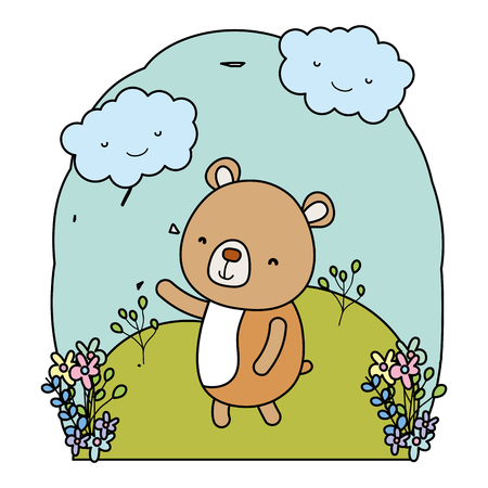 color cute bear animal in the landscape with clouds Illustration