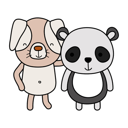 color dog and panda cute friends animal