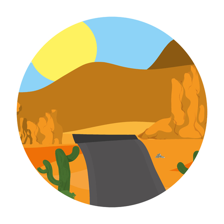 desert cactus plant with mountains road vector illustration